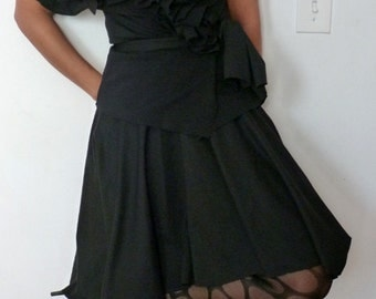 Black Skirt and Wrap Top with Ruffles/Ponte knit fabric