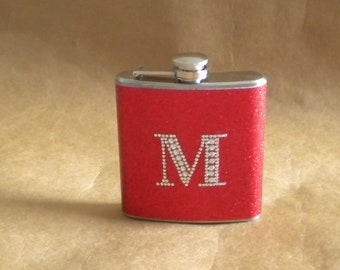 Personalized Bridesmaids or Sorority Gift Red or ANY Color Sparkly 6 oz Flask with ANY Rhinestone Initial Stainless Steel Flask KR2D 5427