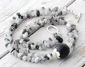 Rutilated Quartz Necklace, Lava Rock Double Strand Black Rutiliated Quartz Necklace, Statement Necklace, Black & White, Santorini Jewelry