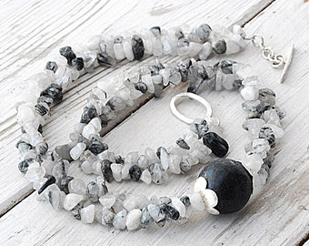 Rutilated Quartz and Lava Stone Necklace, Black White Gemstone Double Strand Statement Necklace, Chunky Santorini Necklace, Quartz Jewelry