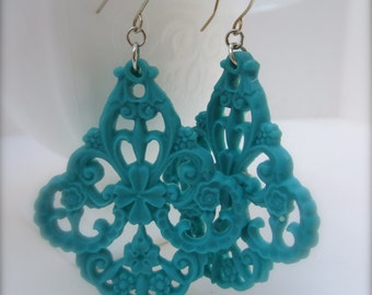 Statement Earrings Teal Earrings Large Drop Earrings Chunky Earrings Large Teal Filigree Earrings Chunky Jewelry Teal Blue Jewelry