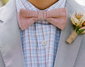 Adjustable Men's Bow Tie - White & Red Chevron Fabric (Set of 5)