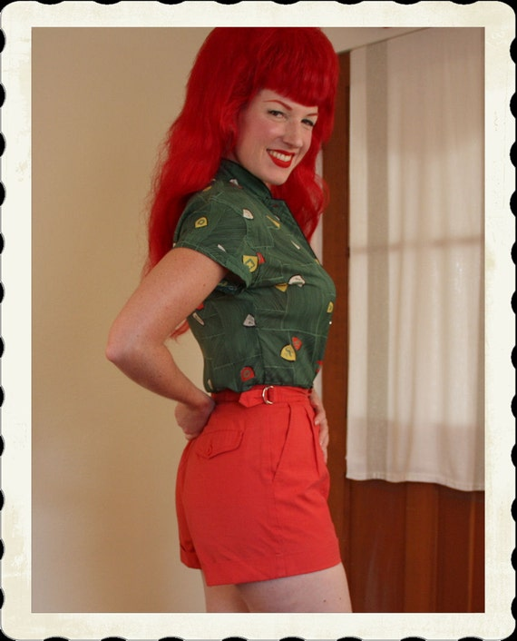 ADORABLE 1950's Style Cherry Red Cotton High Waisted Shorts w/ Side Buckles & Pockets by Jean de Paree - VLV - Size S to M