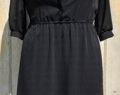 70s Black Semi-Sheer Pinstripe Secretary Dress - Size 10