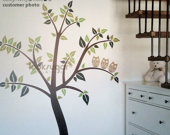 Kids Wall Decal - Tree Wall Decal with Birds- with Owl in Tree - 0040