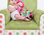 Pink Minky Puppy Dog Security Blanket, Lovey Blanket, Baby Blanket, Stuffed Animal, Baby Toy, Baby Girl