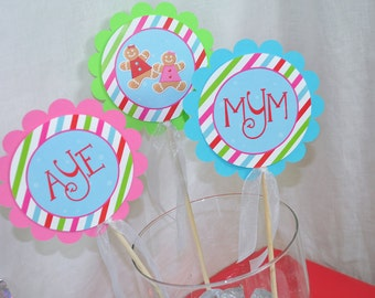 Gingerbread Centerpiece Sticks, Girls 1st Birthday, Winter Birthday Party Decorations, Christmas Party Decorations - Set of 3