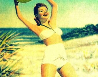 BEACH BALL BABE coastal art print 1940s aqua red yellow, coastal art, vintage Florida vintage art, summer art, beach babe summer print