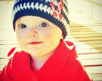 Nautical Baby Hat - Navy and White Striped Newborn Beanie - Newborn Photo Prop - Sailor Hat - Anchor Hat - Baby Nautical Hat