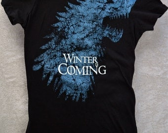 Stark WINTER Is COMING Womens ShirtDirewolf Woman's Fitted Soft Black Cotton Tee