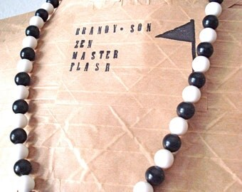 Black and White Vintage Beaded Necklace * On Sale!
