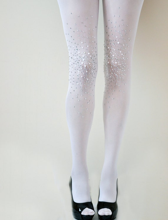 Items similar to Frost White Bridal Opaque Studded Tights- Bridal ...