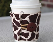 Fabric Coffee Cup Cozy - Cardboard Cup Sleeve - Brown & Ivory Giraffe Animal Print