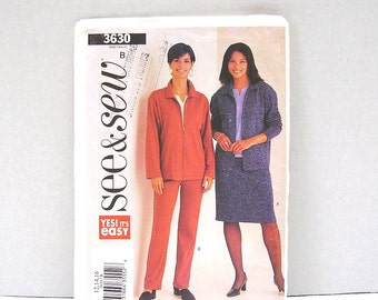 Butterick See and Sew Pattern 3630 - Jacket, Skirt, Pants - Sizes 12-14-16