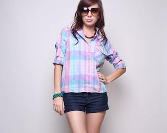 Medium / Large - Wrangler 70s Shirt - Plaid Vintage Blouse - Pastel Collared Top - 1970s - Preppy Shirt