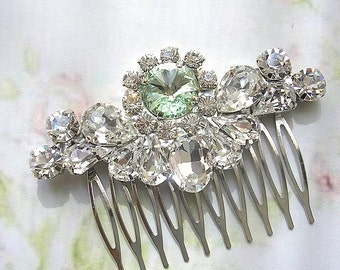 mint green wedding hair comb, wedding hair accessories,bridal Swarovski hair comb, head piece,