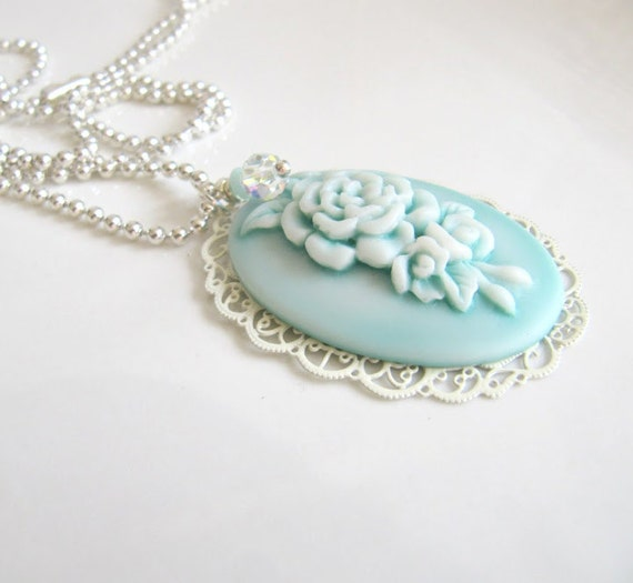 Blue necklace, jewelry, pendant, gift for her, cameo necklace, romantic jewelry, large pendant, Swarovski