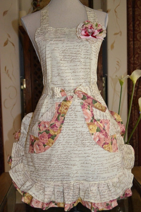 Paris Postcard Script Print Apron - With Cabbage Print - Floral Ruffle And Handmade Muslin Rose Pin