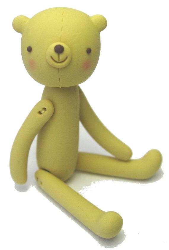Vintage Mustard Yellow polymer clay Bear