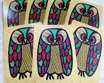6 Kitschy Owl Vintage Playing Cards