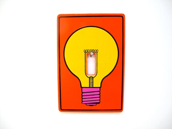 Vintage 1970s Light Bulb Switch Plate