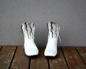 Women boots - Eco white snow - felted booties - shoes - handmade - us 6.5