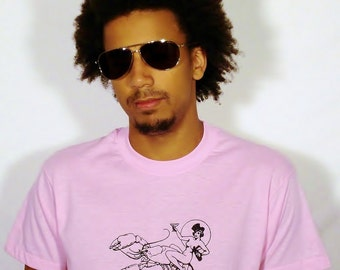 SALE Naked Lady Riding Lobster on Vintage Classic Pink T-Shirt - Available in S, and L