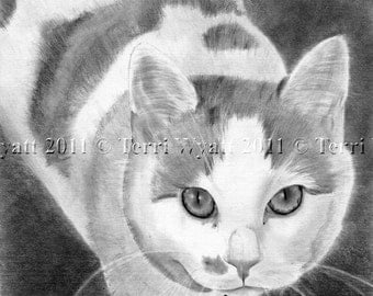 Custom Pet Portrait From Your Photo - 5x7 Original Cat Dog Horse Pencil Sketch Art Drawing From Photograph
