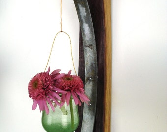"VESSEL - ""Brassia"" - Wall Hanging Wine Barrel Candle/Flower Holders - 100% recycled"