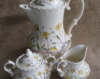 Vintage 1940s Yellow Hibiscus Pattern Vernon Kilns  3 pcs Coffee Tea Set