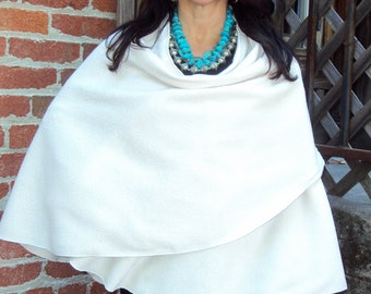 One Size-lightweight Polar Fleece Shawl/Poncho. Color shown in large photo is Ivory.