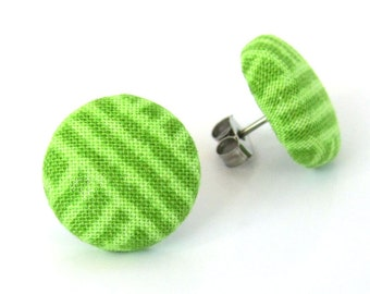 Tiny green button earrings - fabric studs stripes simple bright post small cute