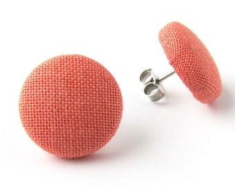 Coral stud earrings -  salmon pink button earrings - small fabric earrings tiny simple elegant orange peach