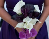 Plum and Fuchsia Orchid and Calla Lily Bouquet - Tropical Real Touch Wedding Bouquet