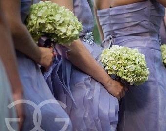 Light Green Hydrangea Wedding Bouquet - Hand Tied Silk Bridal Bouquet