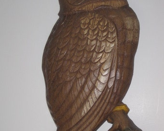 vintage Wise Old Owl wall hanging by Syroco