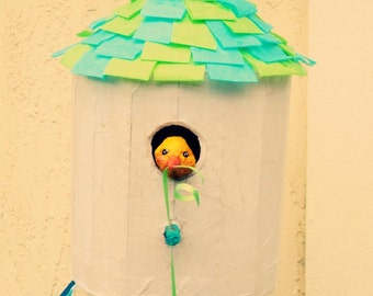 Birdhouse Pinata, Made to Order - With Bonus Matching Printable Invitation