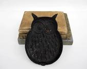 Vintage Black Halloween Owl Trinket Dish or Iron Trivet