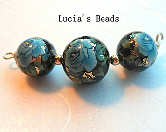 New Size Blue Rose on Black 14 MM and 12 MM  Japanese Tensha Bead Set