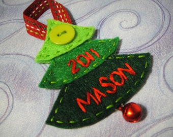 Handmade Personalized Three-Tone Christmas Tree with Bell and Button: Custom Stitched Name and Date