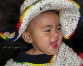 TODDLER Sombrero and Poncho - 12-18 months - Photo Prop - Oatmeal Tweed Color - Mexico - South America - Indian