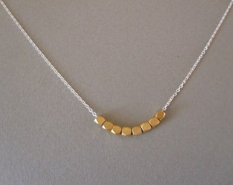 Gold Nuggets on Silver Necklace