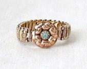 Expansion Bracelet - Art Nouveau Rose Gold & Yellow Gold Filled Flower Rhinestones Signed Lustern