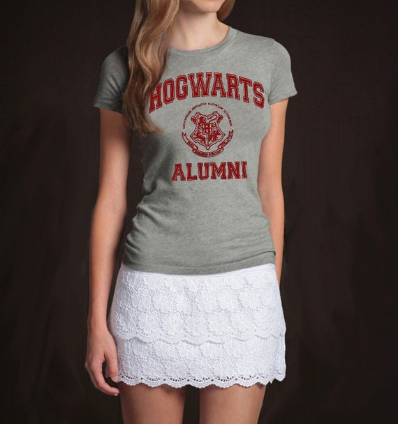 Hogwarts Alumni Harry Potter Geek Grey T-shirt Women's Girl's Ladies Tshirt Tee