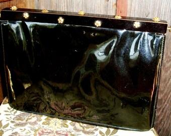 """Vintage """"KORET"""" PURSE/HANDBAG, Black Patent Leather, Unusual Design, Rhinestone Flowers On Black Metal Flip Top, Chic & Stylish"""