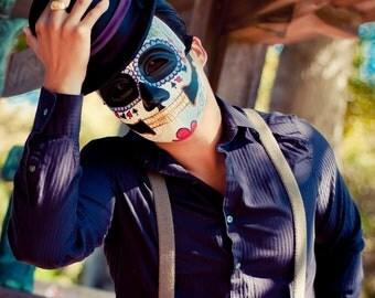 Poker Face Day of the Dead Mask - Mans Groom Skull Tattoo Flash skeleton Dia de los muertos Joker