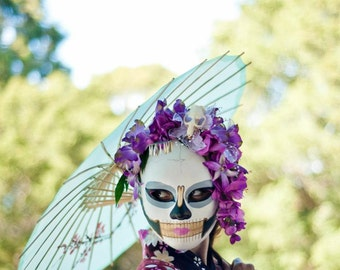 Geisha Bride Day of the Dead Skull Mask - With Real Skull Orchid kanzashi Headdress - Dia de los Muertos Kabuki Dangling Bira Bira hairpin