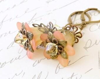 Orange and  Yellow Lucite Flower Earrings, Vintage Style Earrings