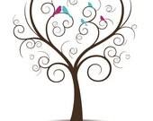 Mothers Day Family Tree, Anniversary Gift from Grandkids - Family Tree with Love Birds, Baby Birds - Printable  JPEG Fingerprint Tree