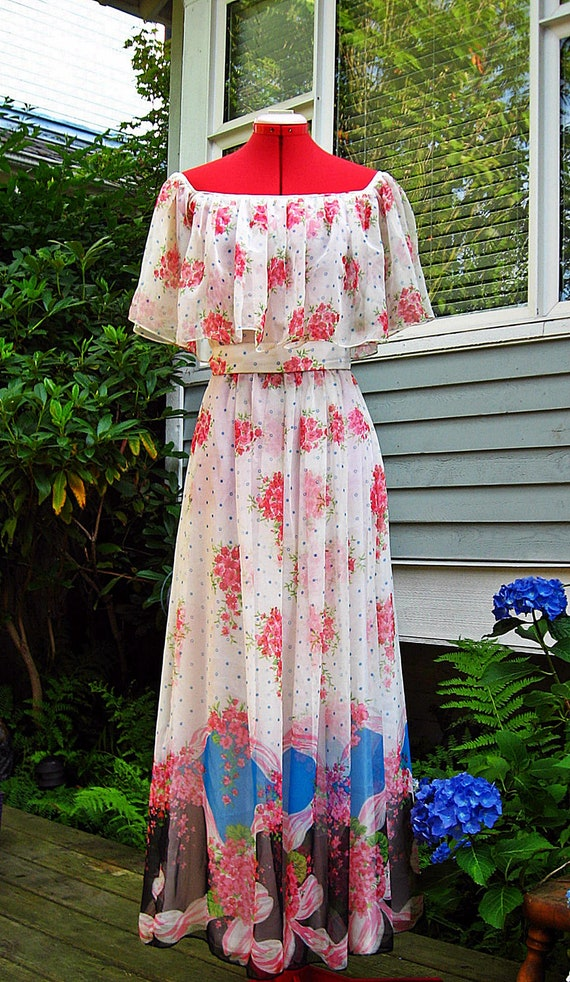 Vintage 70s Romantic OFF the SHOULDER Maxi Dress S
